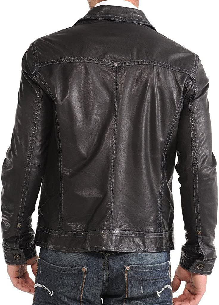 New Mens Leather Motorcycle Jacket Slim Fit Leather Coats LF586