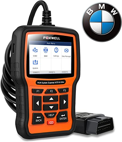 The Foxwell NT510, a BMW scan tool that can both read and clear engine codes, as well as diagnose problems with other major systems