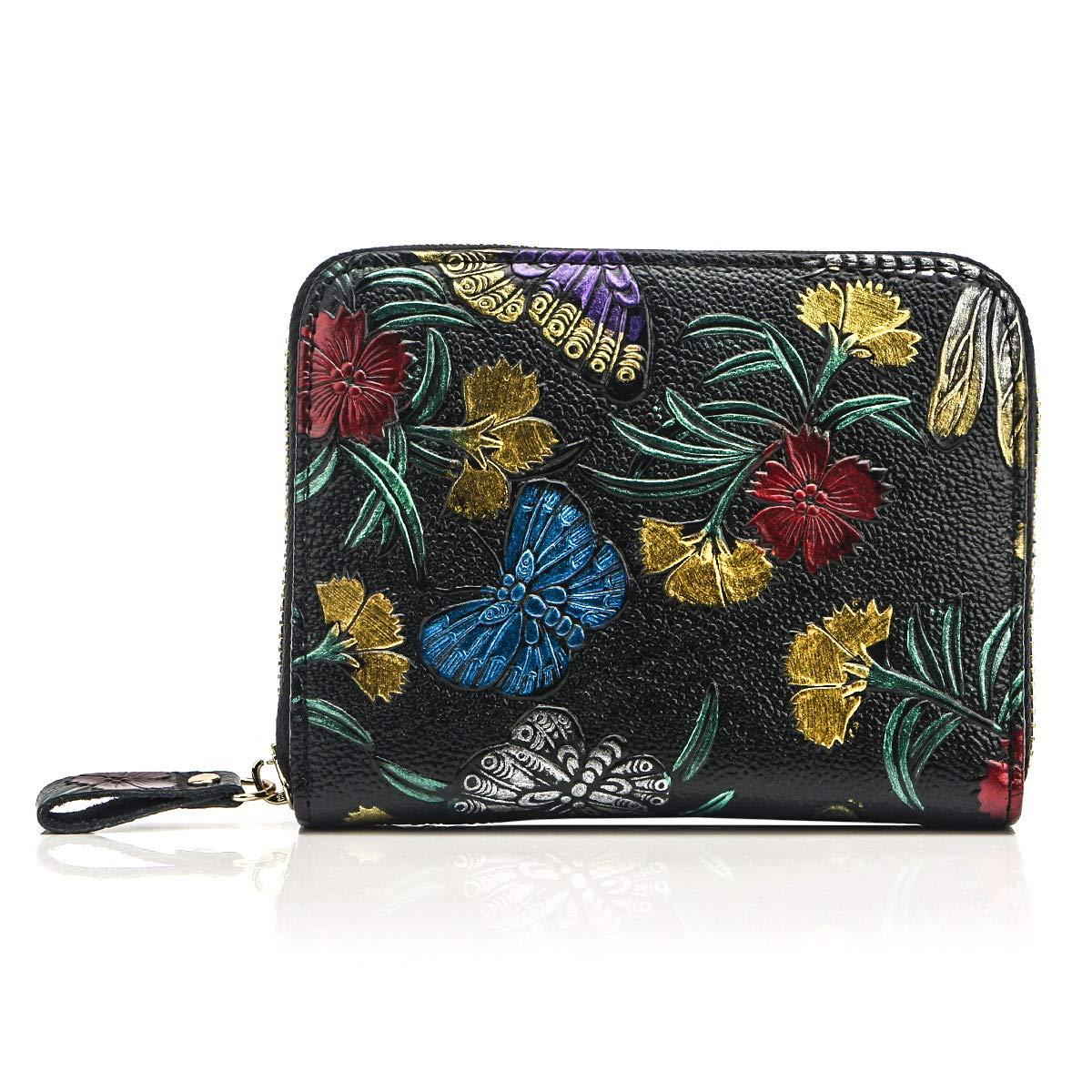 APHISON Women's RFID Blocking Card Case Cash Holder Leather Travel Wallet Black