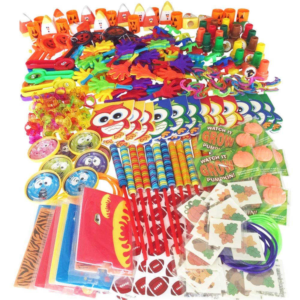 368-Piece Fall Festival Carnival Prizes Small Bulk Toy Assortment For School And Church Kids, Harvest Fest, Goody Bags, and Party Favors