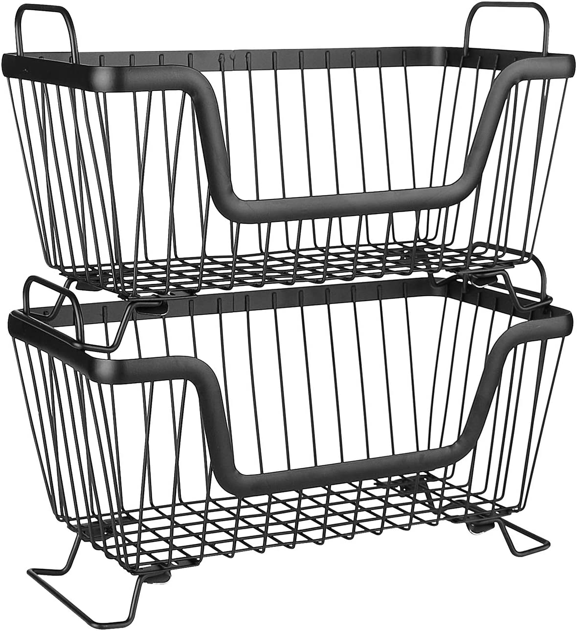 """LOTTS Stackable Metal Storage Organizer Bin Basket with Handles, Open Front for Kitchen Cabinets, Pantry, Closets, Bedrooms, Bathrooms (12.6×6.5×7.6"""")- 2 Pack"""