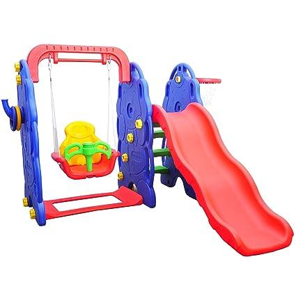 d43f10483b89 Outsunny-Set scivolo altalena con Canestro Basket per bambini giocattoli da  giardino  Amazon.it  Prima infanzia