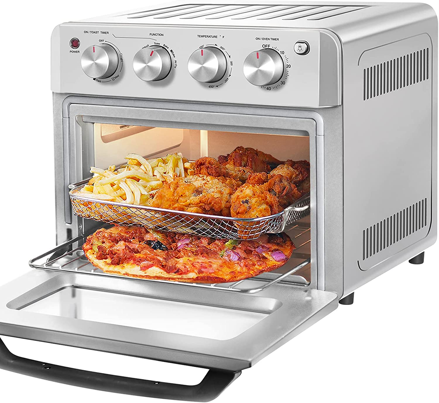 Large Air Fryer Toaster Oven 19 QT, DAWAD Countertop Convection Oven Airfryer with 33 Original Recipes, Stainless Steel
