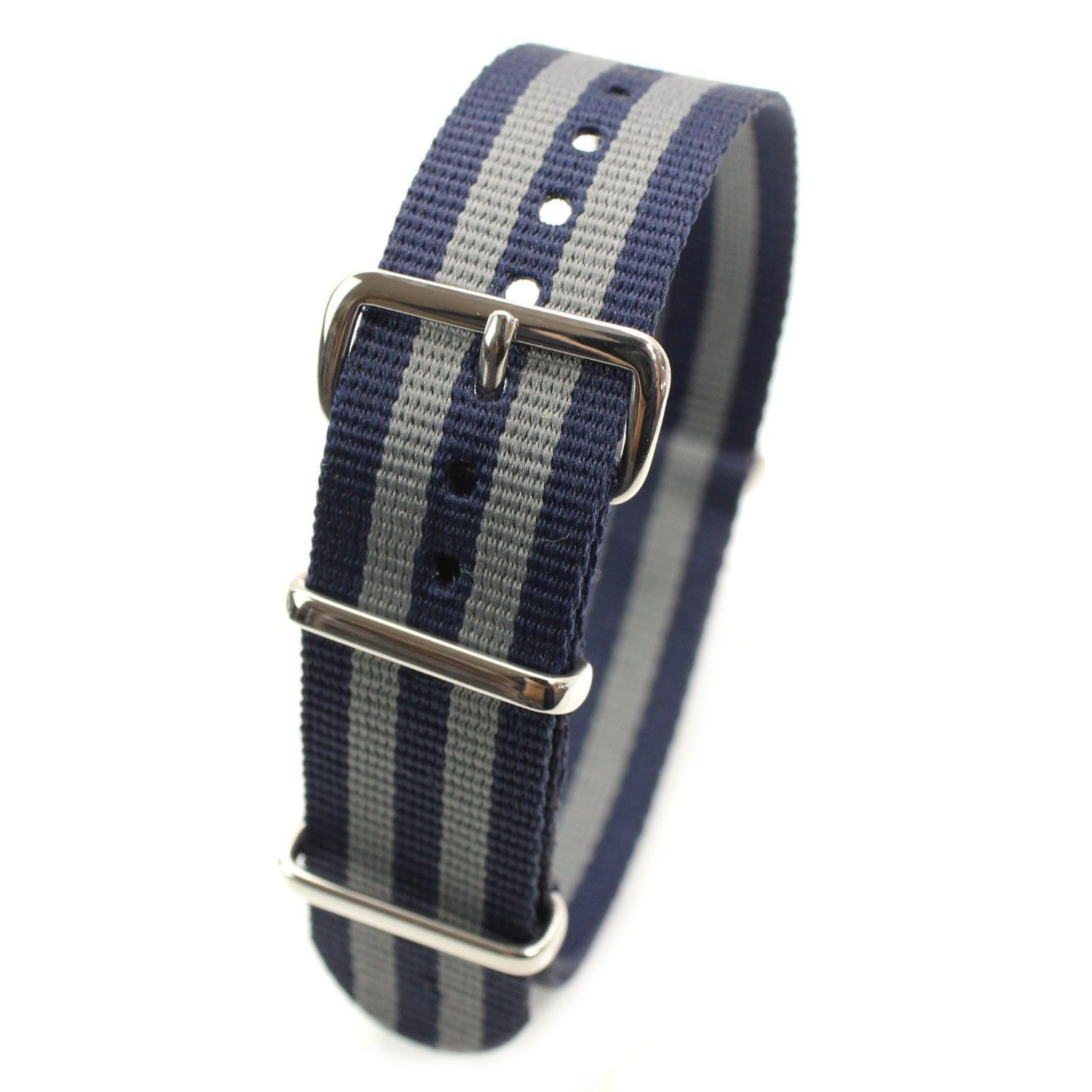 HDT Design N.A.T.O. Type Nylon Watch Strap [James Bond Navy & Gray 22mm]