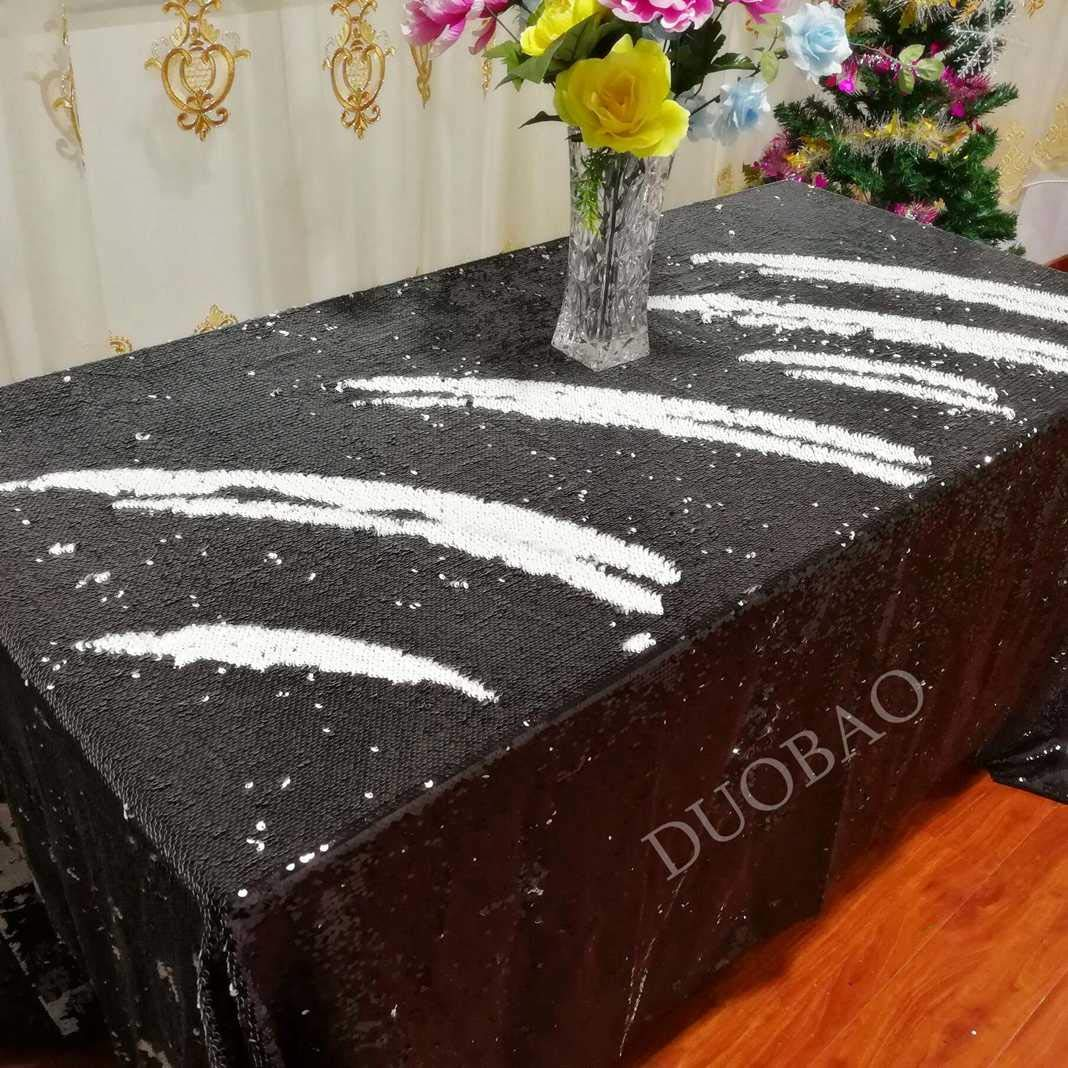 DUOBAO 72x108-Inch Rectangle Sequin Tablecloth Black to White Glitter Table Cloths Mermaid Sequin Table Cover for wedding/party/birthday-0612H
