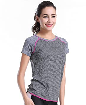 Qutool - Camiseta para Mujer Entrenamiento Deportivo y Yoga, Mujer, 2Grey, Medium: Amazon.es: Deportes y aire libre