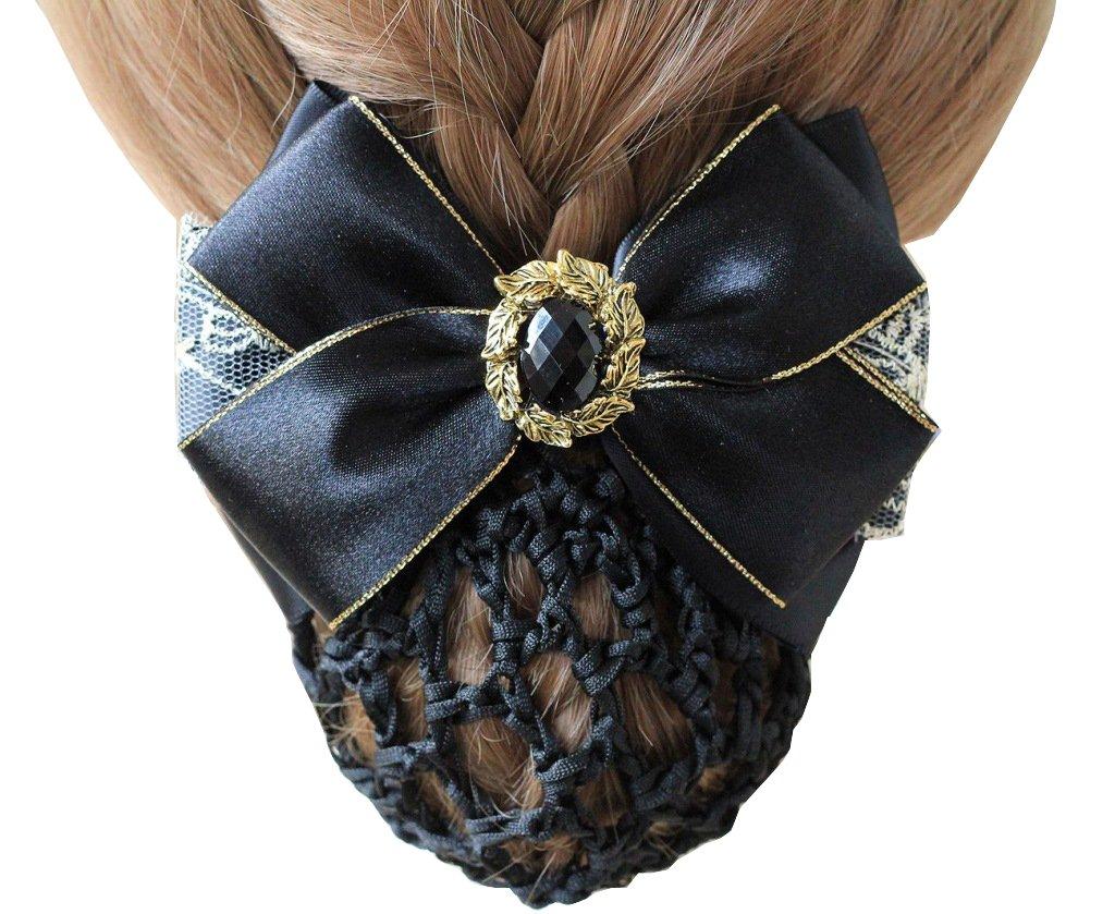 Korean Style Elegent Lace Ribbon Bow Bowknot Rhinestone Mesh Elastic Snood Net Hairnets Barrette Hair Clip Accessories Decor Bun Cover Black , Two ways to wear MSP HAIRKR01B