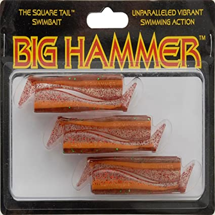 "Big Hammer 3 1//2 /"" square tail swimbait soft plastic 5 pack clear red"