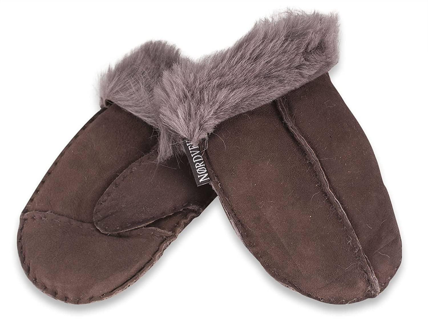 Nordvek 3-8 Years Childrens Sheepskin Mittens # 325-100 - Dark Chocolate-Medium