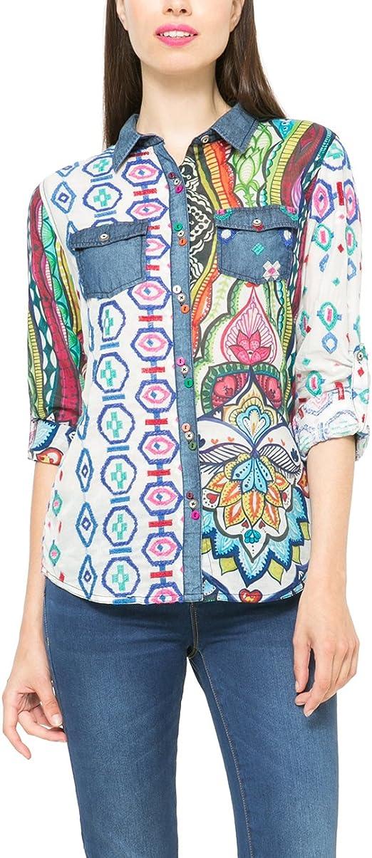 Desigual - Camisas - para Mujer Azul XX-Large: Amazon.es: Ropa y accesorios