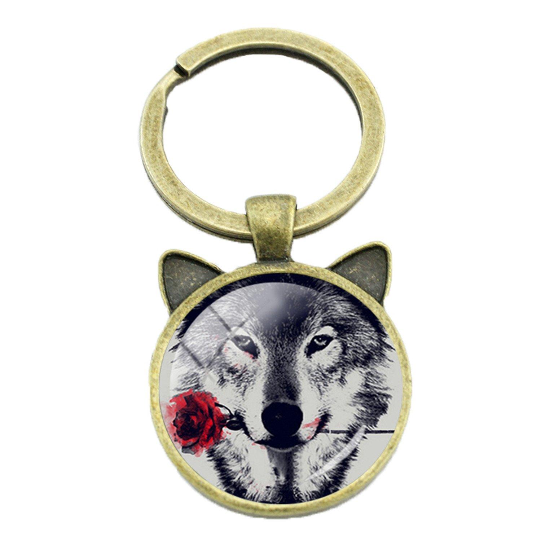 Amazon.com: Llavero vintage de lobo negro con flor de rosa ...
