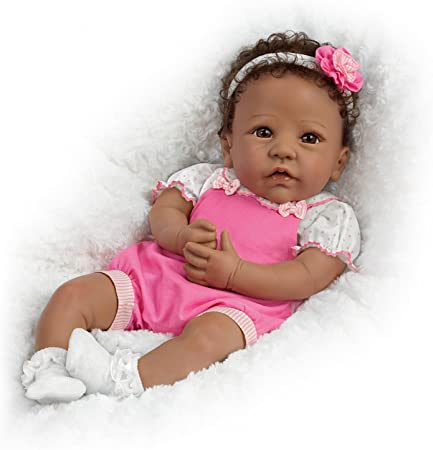 Linda Murray Weighted African American Silicone Baby Girl (Ashton-Drake Galleries), 18
