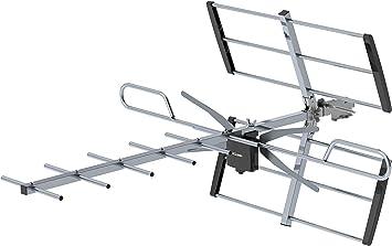 Huashu Antena digital HDTV direccional amplificada para exteriores de 75 millas HDTV, señal UHF/VHF con cable coaxial de 33 pies, fácil de instalar