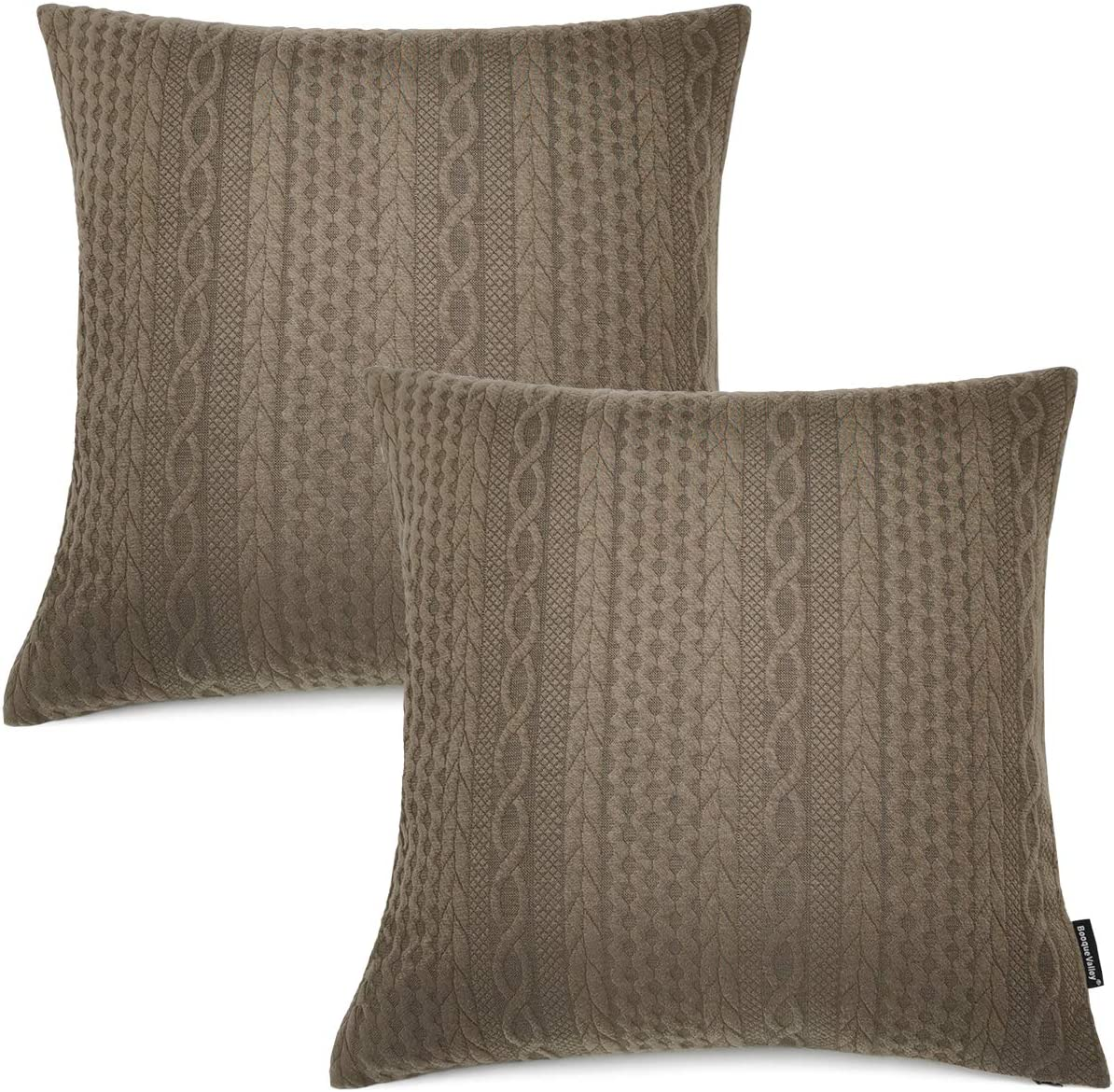 Booque Valley Throw Pillow Covers, Pack of 2 Super Soft Elegant Modern Embossed Patterned Coffee Cushion Covers Decorative Stretchy Pillow Cases for Sofa Bed Car Chair, 18 x 18 inch(Brown)
