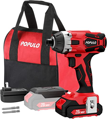 20V Max Lithium Ion Cordless Impact Driver Kit, Quick Release Chuck, Maximum Torque 1,770 in-lbs, Variable Speed, LED Light, Battery, Fast Charger, 2 Piece Drive Bits and Tool Bag Included. Populo