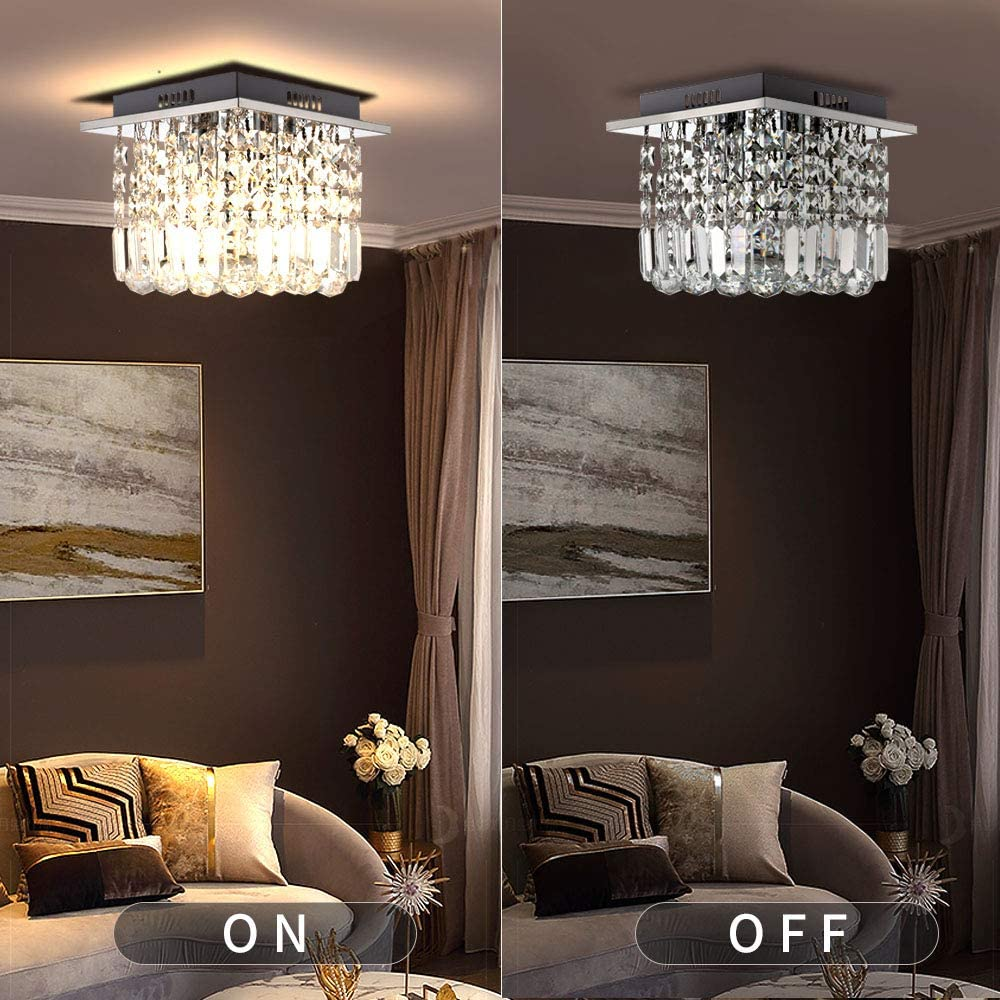 LIGHTESS Elegant Crystal Chandelier Square Modern Raindrop Crystal Flush Ceiling Lights Chrome Finish 4 G9 Lamps Glass Droplets Decorative Lighting for Living Room,D25cm H20cm