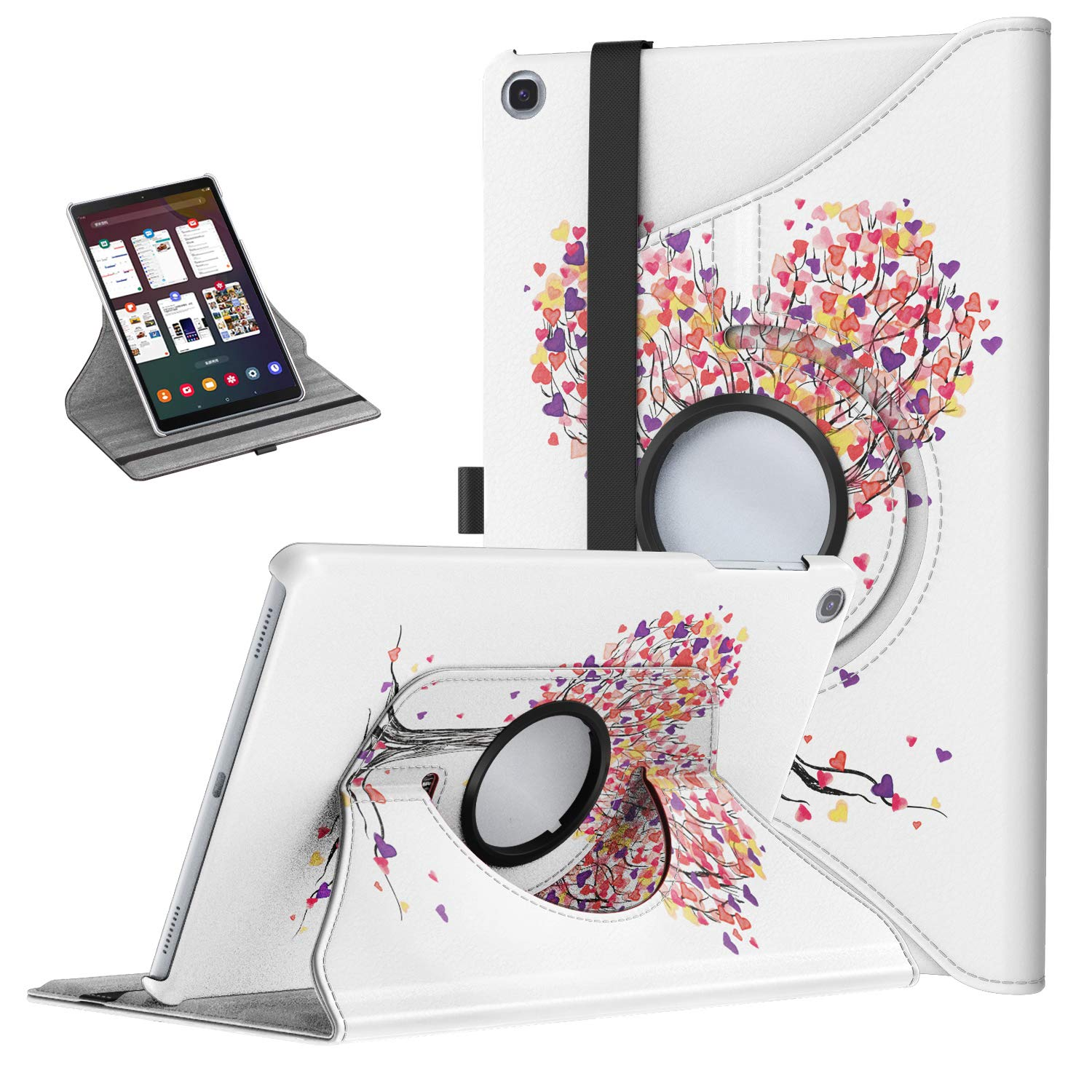 TiMOVO Case for Samsung Galaxy Tab A 10.1 2019 (T510/T515),Ultra Lightweight Slim Shell 360 Degree Rotating Swivel Stand Cover for Galaxy Tab A 10.1 2019 Tablet - Love Tree