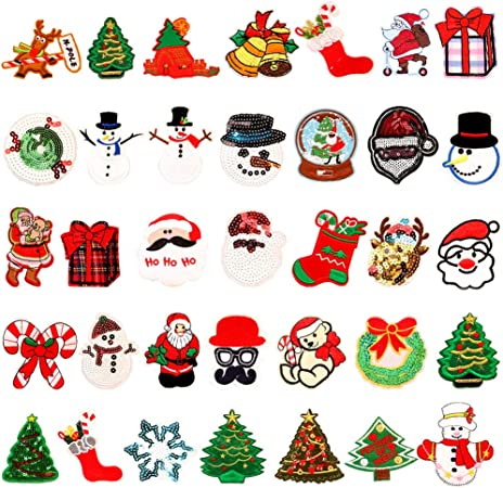 SOIMISS 18Pcs Christmas Applique Patches Snowflake Embroidery Patches Iron On Badges Sew-on Patches Clothes Embellishments for DIY Craft Sewing Christmas Party