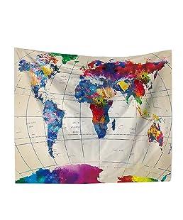 LAAT Paño de decoración de Pared Serie de Mapa Mundial Tapiz De Pared Material de poliéster Cortinas Excelente decoración de la Pared - Estilo 2