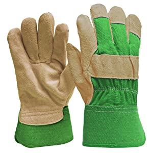 DIGZ Suede Leather Palm Garden Gloves with Safety Cuff, Small