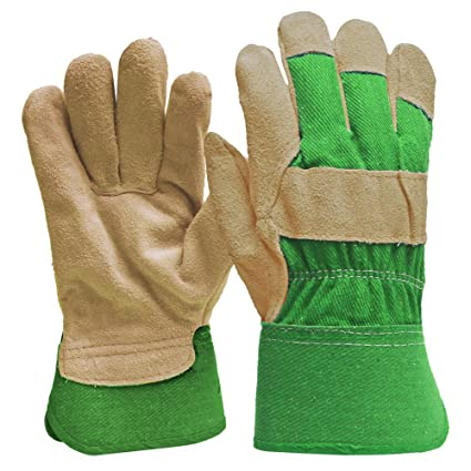 ba0399424 Image Unavailable. Image not available for. Color: DIGZ Suede Leather Palm  Garden Gloves ...