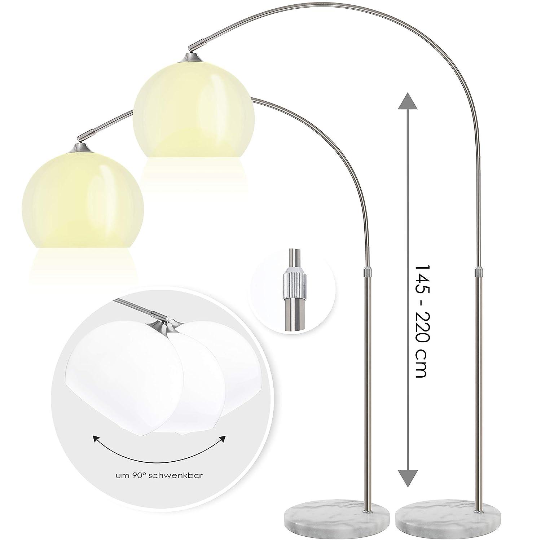 KESSER® Design Bogenlampe Marmorfuss 146-220cm Lampe Stehlampe Stehleuchte weiss