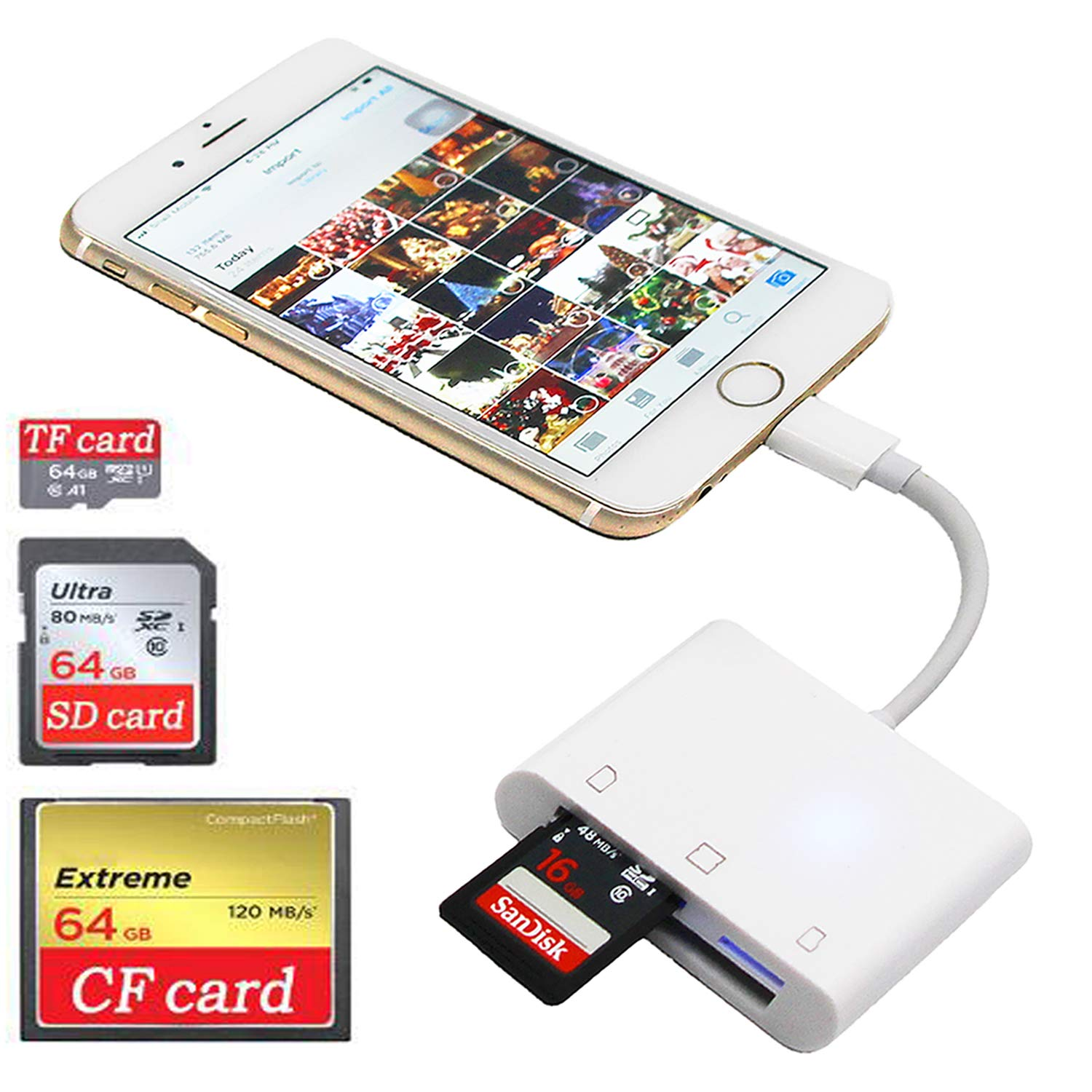 SD CF Card Reader for iPhone/iPad/iPad pro, Camera SD Reader Adapter, Trail Game Camera Viewer for iPhone Xs Max/Xs/X/8 Plus/8/7 Plus/7/iPad Mini/Air, SD/TF/CF Card Reader, No App Require