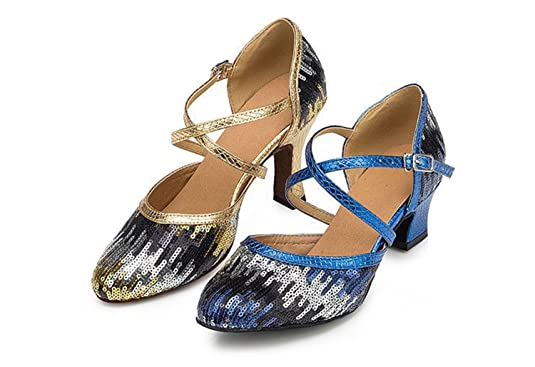 Zapatos de piel con lentejuelas y correas en cruz Minitoo Ladies TH135, para bodas y bailes, color Azul, talla 39