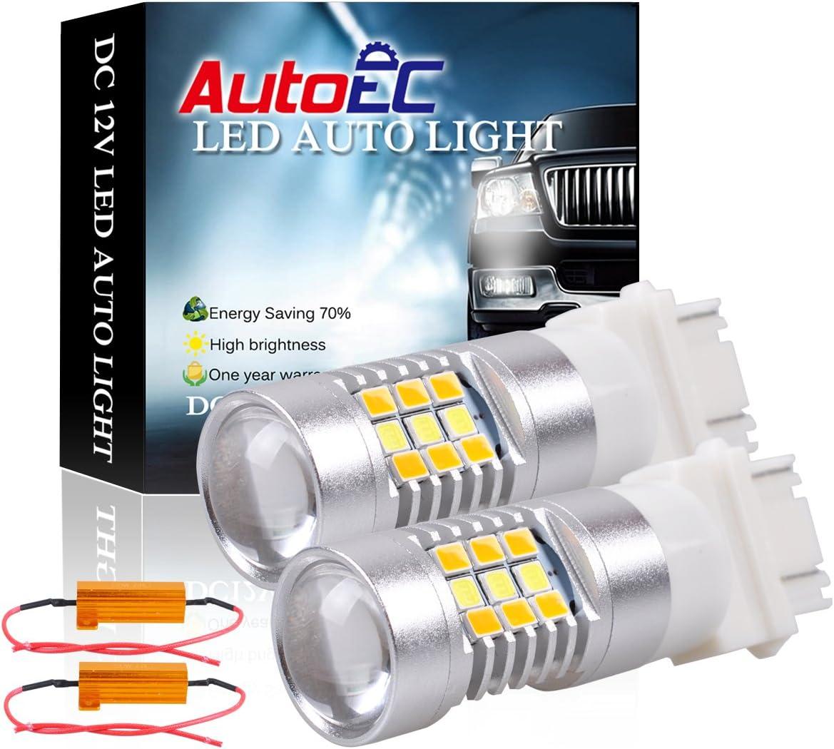 10x 3157 3057 3357 LED Switchback White Yellow Turn Signal Lights+Load Resistors