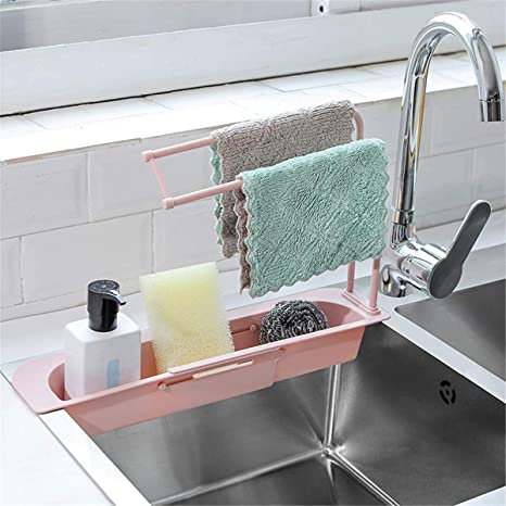 Kitchen Drainage Sink Sponge Soap Rack Sink Organizer Pink Telescopic Sink Holder Adjustable Retractable Cloth Rack Storage Hanging Basket Rack