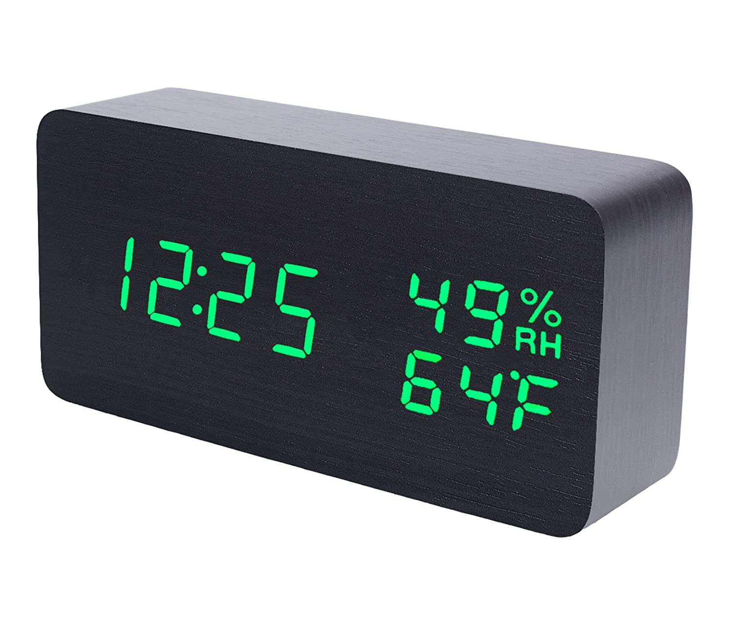 Raercodia Wooden Alarm Clock Modern Wood Clock Digital Electronic Desk Clock with Night Light LED Display Time Date Temperature Humidity Voice Control Brightness Adjust for Home Office (Black,Blue) RCCK-012-150BKBU