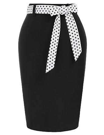dca976a7e 1950 Style Ladies Midi Bodycon Skirts with Polka Dots Belt Black(597-1)