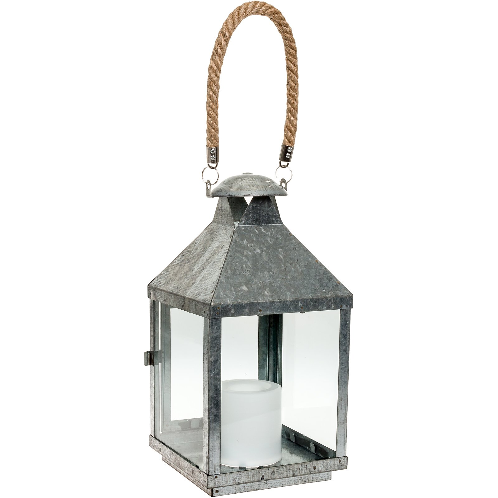 Paradise GL28672MGV Galvanized Metal LED Flameless Candle Lantern w/Rope Handle