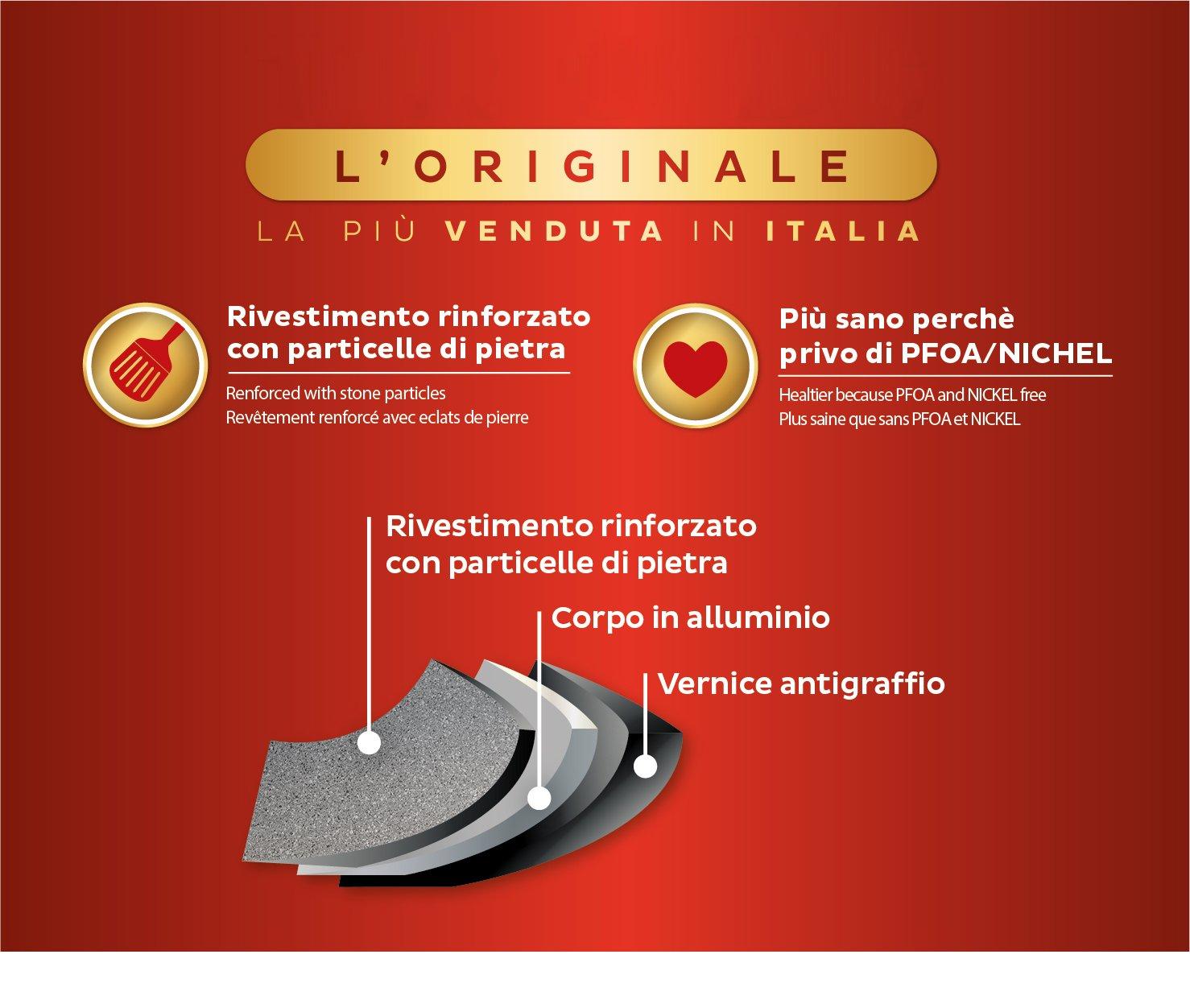 24 cm Alluminio Aeternum New Trudi Tegame Effetto Pietra