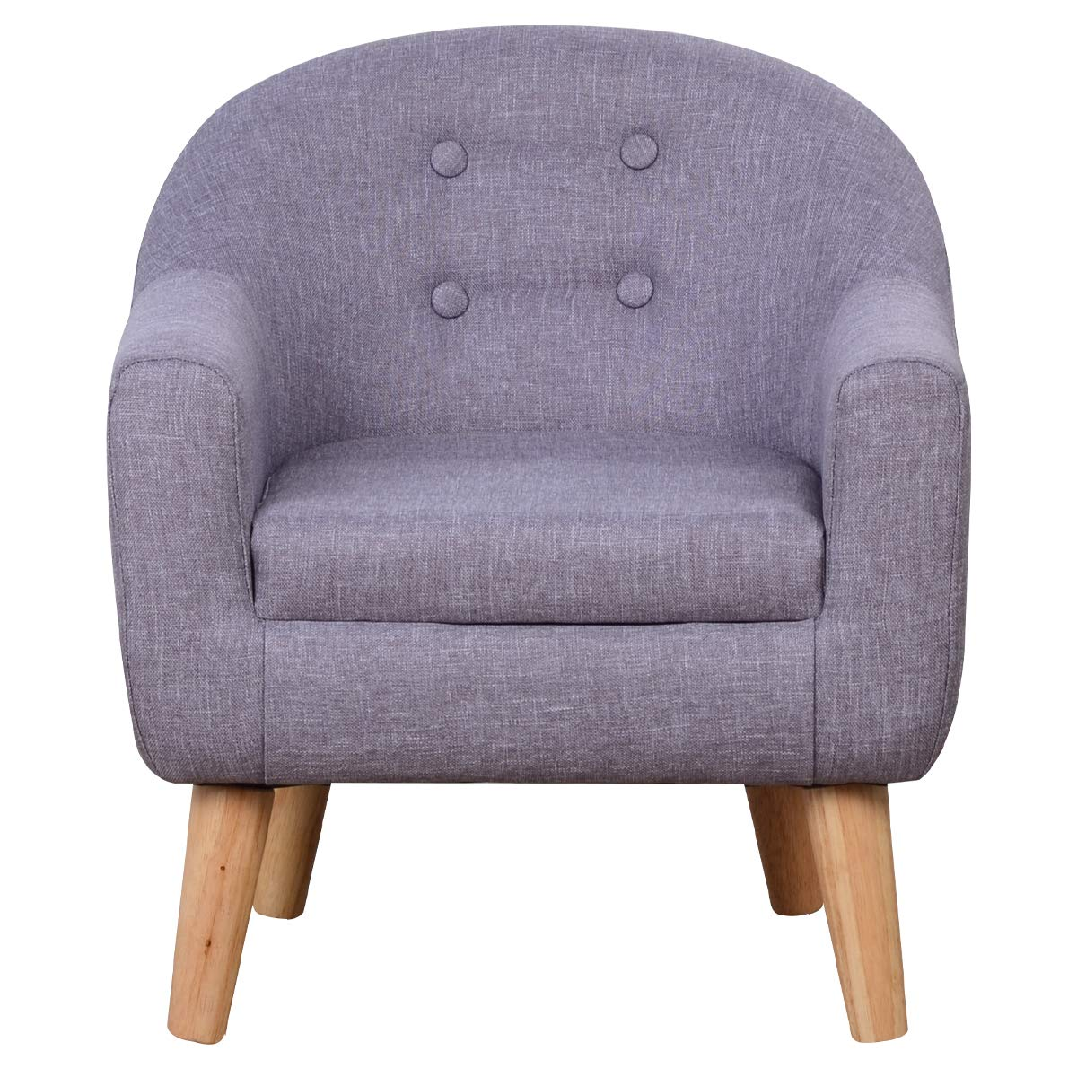 Durable Linen Fabric Upholstered Kids Chair with Wooden Frame for Children Gift, (Gray)
