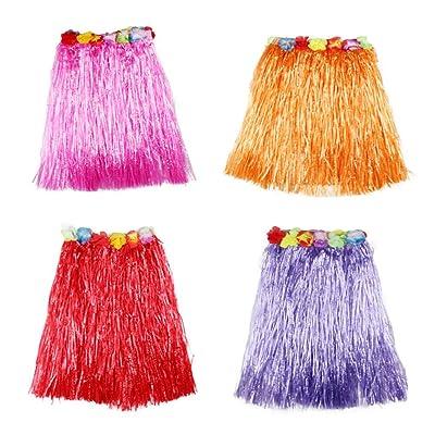 TOYMYTOY Jupes de danse hawaïen 40cm longueur Luau Hula jupes pour les enfants, fournitures de fête Campfire Beach - Set de 4 pièces (violet, rose rouge, rouge, orange)