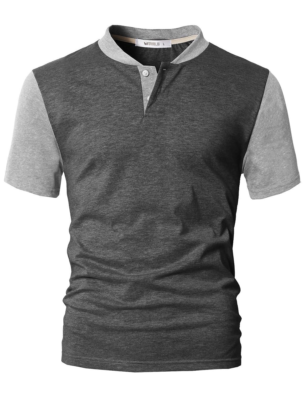 DANDYCLO Men's Henley Shirt Casual Short Sleeve Two Tone Shirt CMTTS0218