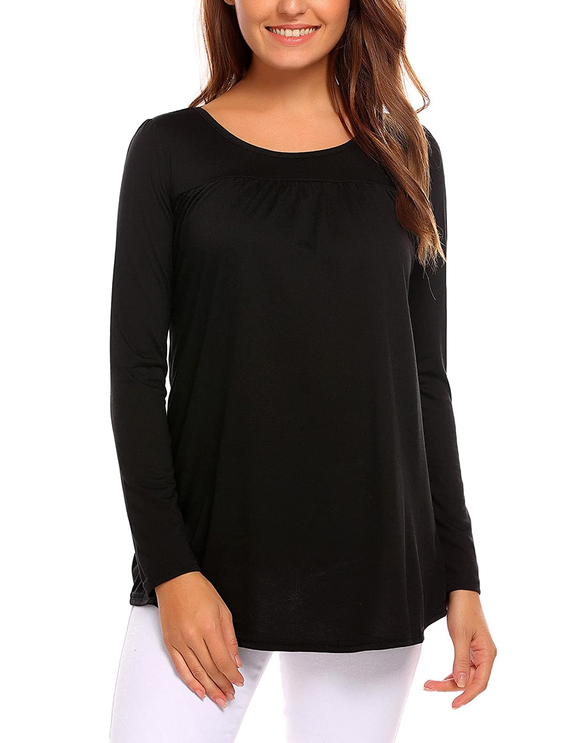 aac0f0529 ☆Easther Scoop Neck Pleated Short/Long Sleeve Blouse Top Tunic Shirt with  Flowy Hem. Soft and comfortable fabric with stretch