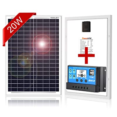 DOKIO 20W Polycrystalline Solar Panel with REGULADOR for 12volt Battery Charging, Boat, Caravan, RV (Portable) : Garden & Outdoor
