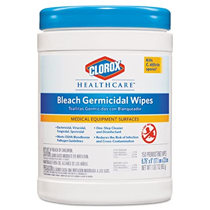 Clorox Healthcare 30577CT Bleach Germicidal Wipes 6 x 5 Unscented 150/Canister
