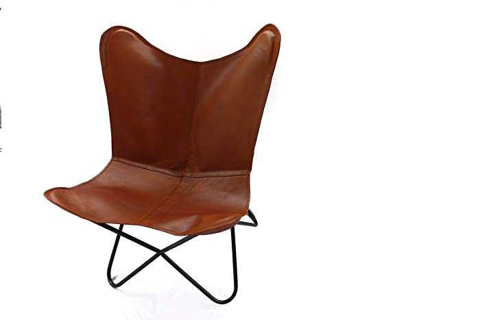 Komal Handicrafts New Brown Leather Handmade Arm Butterfly Chair BKF Leather  Chair Home Decor