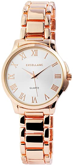 Reloj mujer plata rosado. Oro números romanos Analógico metal Reloj de pulsera: Amazon.es: Relojes