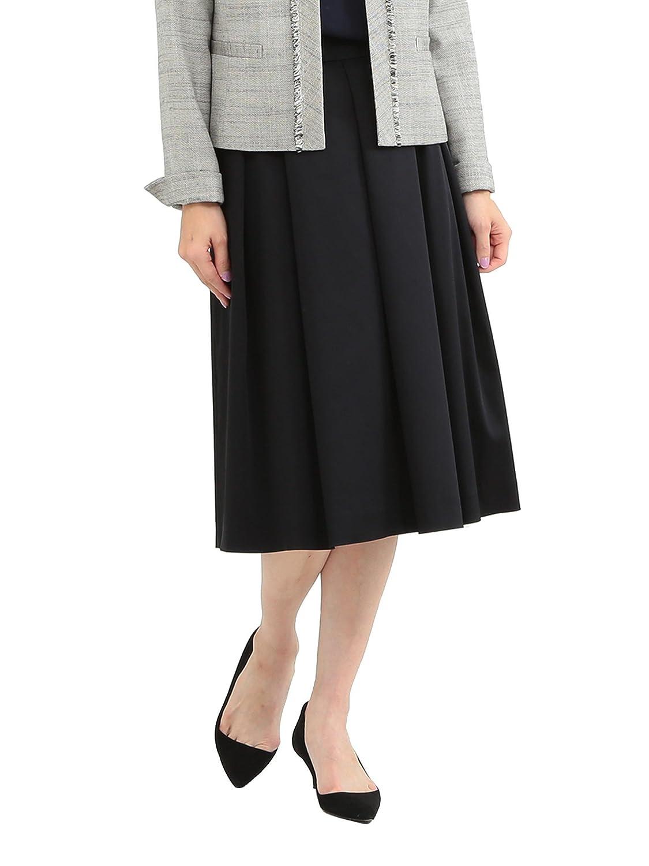 (デミルクスビームス) Demi-Luxe BEAMS スカート タックフレアー サテンスカート レディース ベージュ 38 B077Z4BP7W 38|ネイビー ネイビー 38
