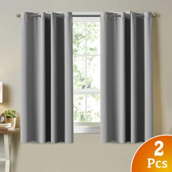 Blackout Curtains for Bedroom Grommet Gray Curtains 2 Panels, Thermal  Insulated Blackout Drapes 63 Inch Length Window Treatments Blinds and  Shades ...