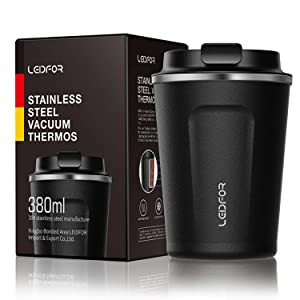 Insulated Tumbler Coffee Travel Mug Vacuum Insulation Stainless Steel with Screw On Lid Leakproof Keep Hot Cold 12oz BLACK