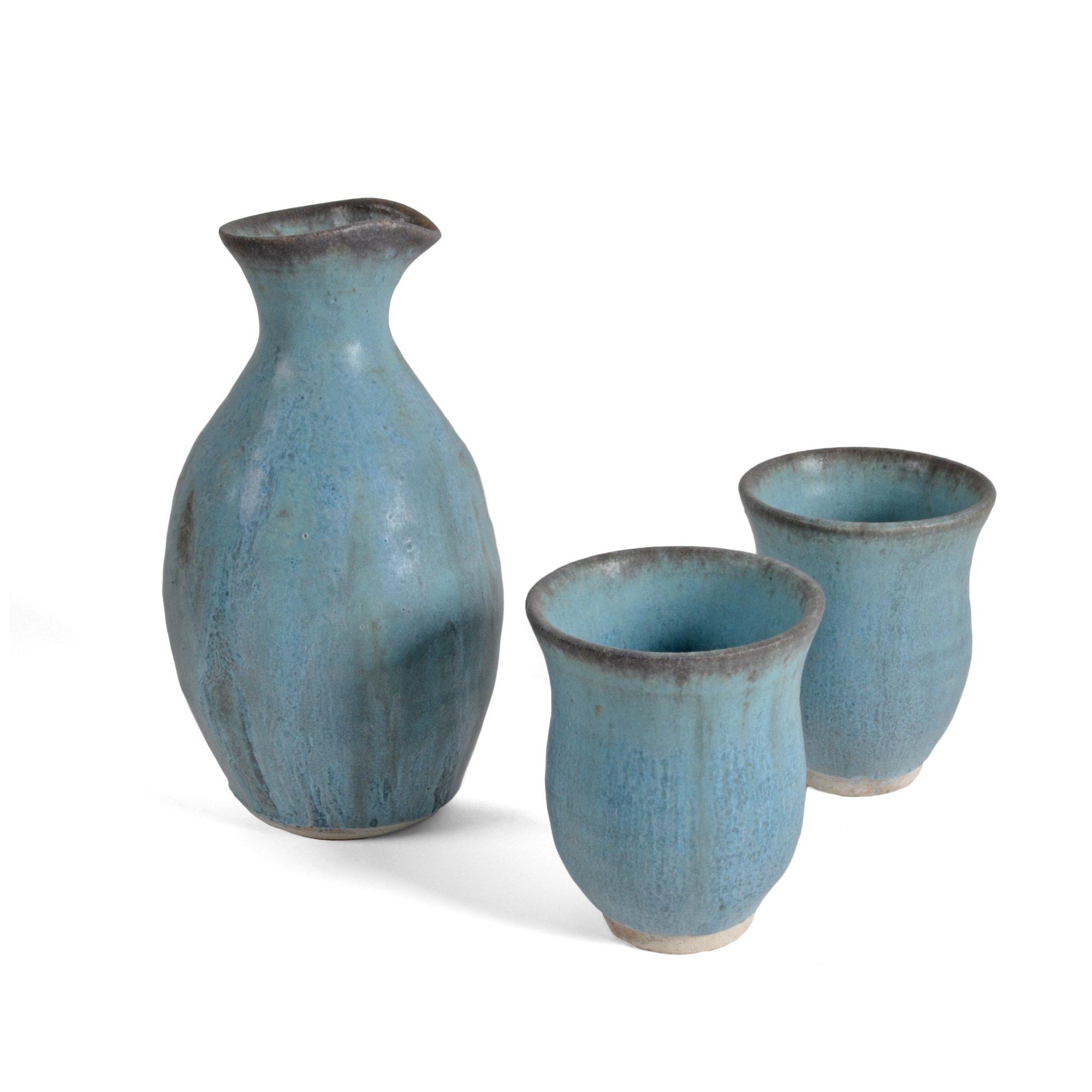 Dock 6 Pottery 3-piece Sake Set, Turquoise by Dock 6 Pottery (Image #1)