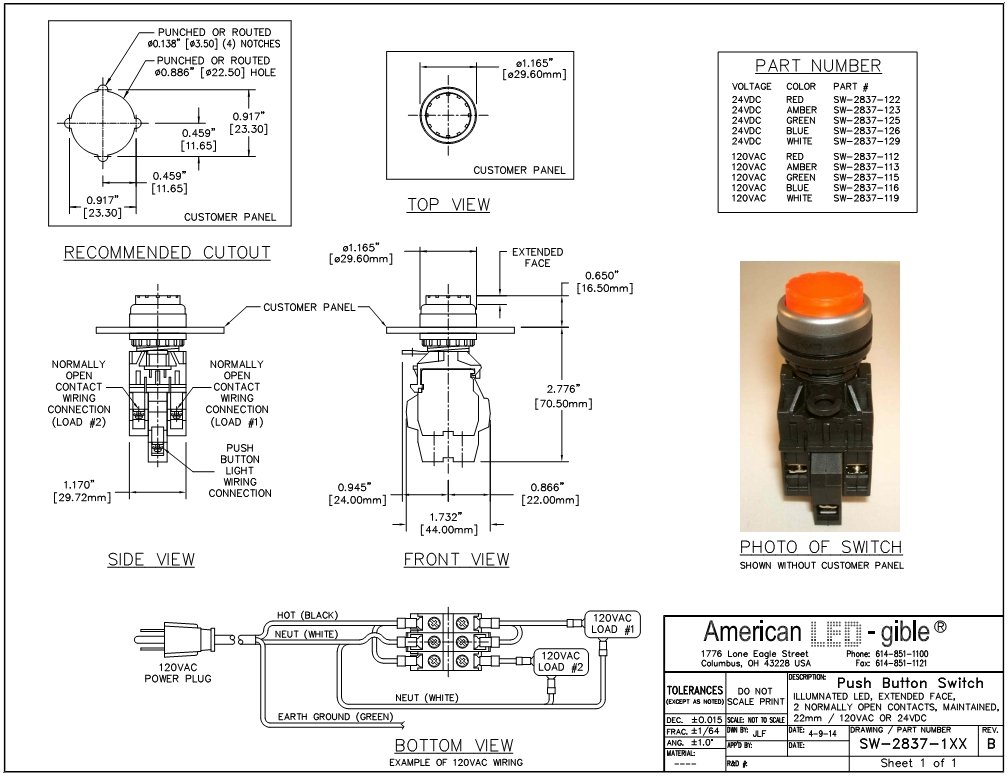 American LED-gible SW-2837-115, 120VAC Illuminated Green Push button switch, Extended Face