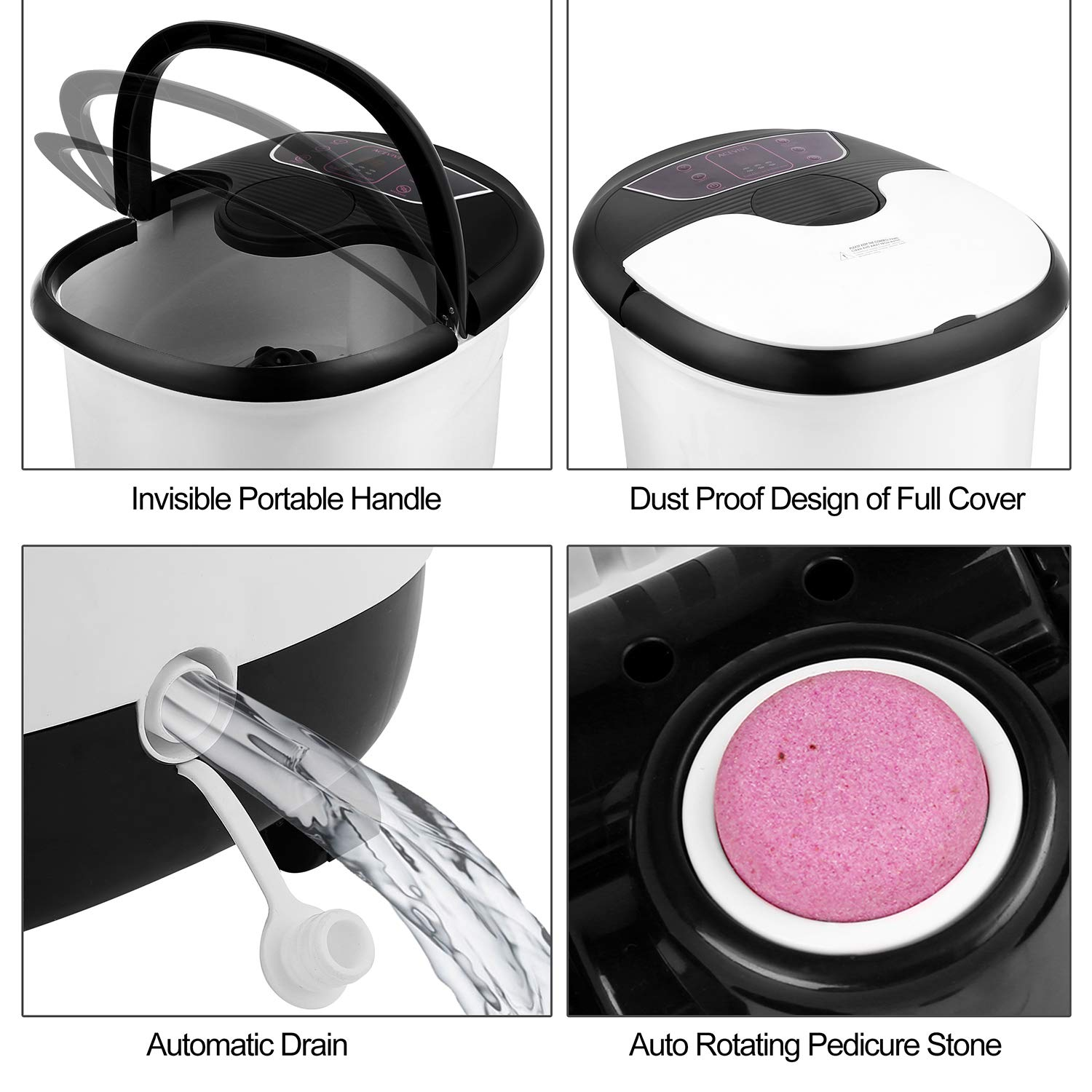 Foot Spa Bath Massager with Heat and Motorized Rollers, Deep Foot Bath Bucket with Pedicure Stone and Bubble Surging, Rolling Massage, Timer & Temperature for Foot Relief: Beauty