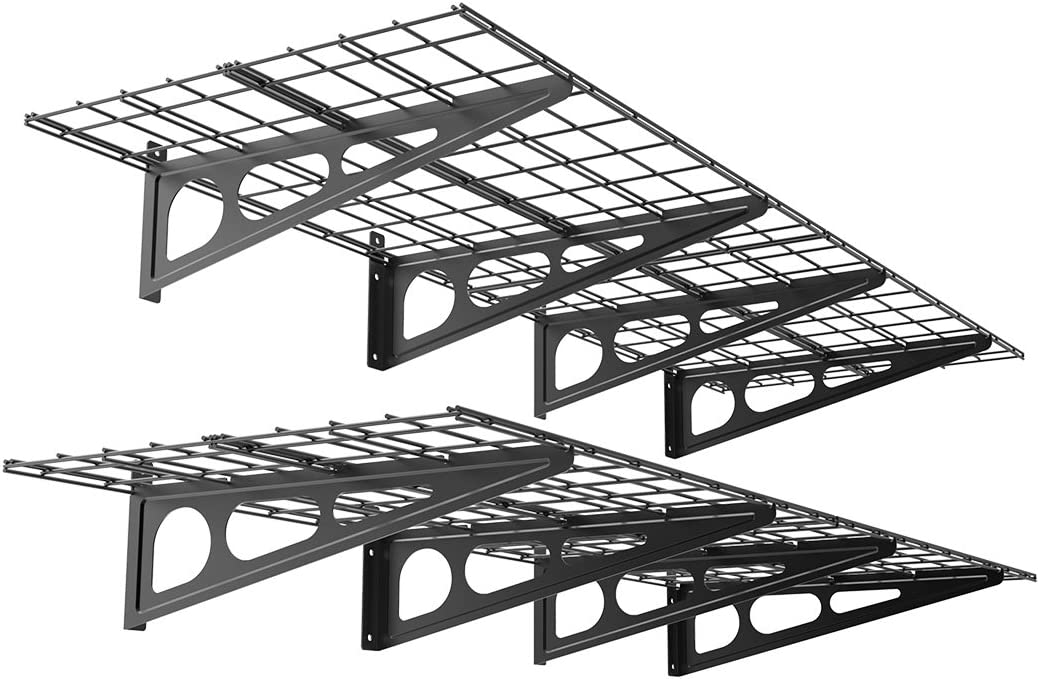 FLEXIMOUNTS 2 x 6 Black 2-Pack 2x6ft 24-inch-by-72-inch Wall Shelf Garage Storage Rack, 24 x 72