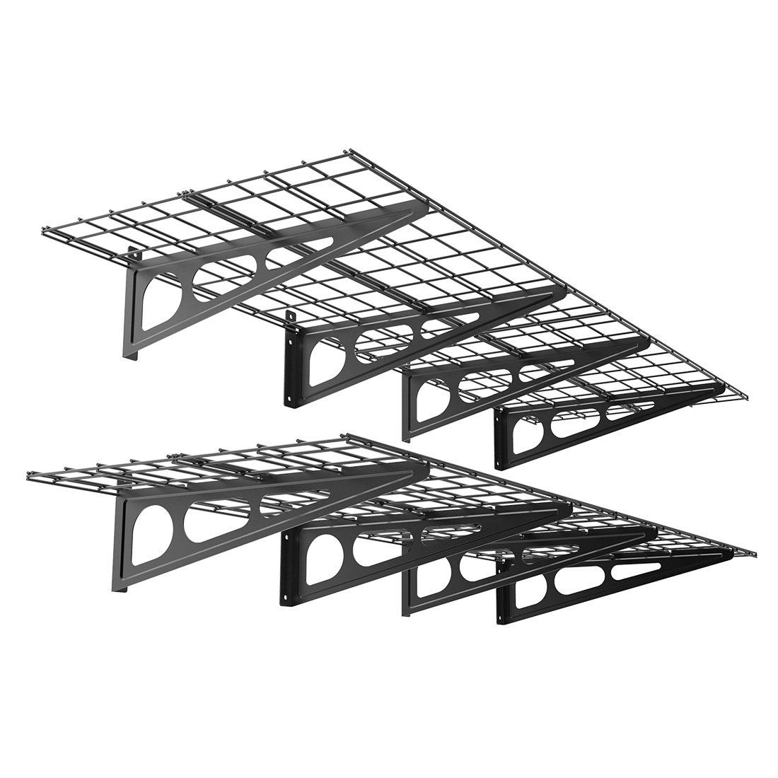 FLEXIMOUNTS WR26B-SBA 2' x 6' Wall Shelf Garage Storage Rack (2 Pack), Black, 24'' x 72''